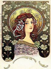 VINTAGE LADY FLOWERS MUCHA 1902 NOUVEAU ART POSTER PRINT LV4730