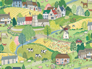 Makower VILLAGE LIFE cotton fabric Farm, Animals,Tractors, Houses. Sewing, Craft