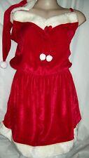 Xmas Christmas Red Mrs Santa PJ pyjamas nightie DRESS + hat L 14 16 NEW