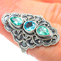 Blue Topaz 925 Sterling Silver Ring Size 7.5 Ana Co Jewelry R52476F