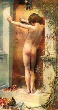 c1912 Antique MERRITT Old Vintage Art Print Nude Male Man LOVE LOCKED OUT Death