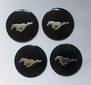 Set of 56mm Black Domed Wheel Centre Cap Cover Stickers For Car Mustang Ford