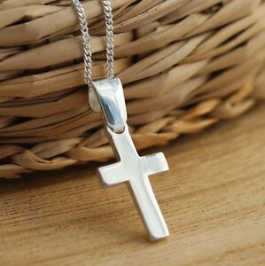 Solid 925 Sterling Silver Plain Cross Pendant Necklace Charm Chain Jewellery