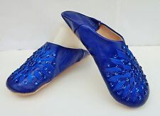 MOROCCAN * DARK BLUE LEATHER SEQUINED SLIPPERS
