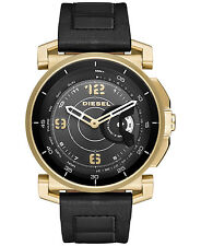 DIESEL Hybrid Smartwatch Black Leather Gold Case, Alerts, Sleep, Music DZT1004