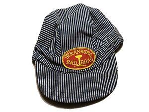 Vintage USA Denim Hat Hickory Stripe Railroad Conductor Cap Strasburg Railroad