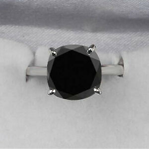925 Sterling Silver With 4.50Ct Cushion Shape Natural Black Diamond Women's Ring