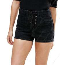 NEW HIGH WAISTED DENIM SHORTS Ladies BLACK LACE denim WAIST JEAN Size 8 10 12 14