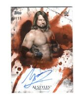 WWE AJ Styles 2018 Topps Undisputed Orange On Card Autograph SN 80 of 99