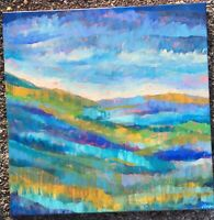 MOUNTAIN GLOW. Original Acrylic Abstract Colorful Landscape Painting 20x20 ART
