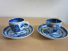 Antique Chinese blue & white canton style tea cups and saucers 4pc estate lot