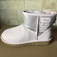 UGG Classic Mini Sparkle Logo Graphic Seashell Pink Suede Boots Size 10 Women