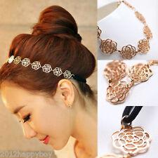 Lady's Fashion Metal Hollow Rose Flower Elastic Hair Band Head Hair Accessories