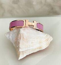 Hermes Rosegold Peony Pink Enamel H Narrow Clic Clac Bangle