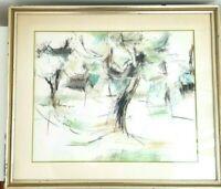Original Art Vita Petersen 1968 Signed Abstract Trees New York Studio School