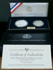 1991-1995 Us Mint *World War Ii 50th Anniversary* 2 Coin Proof Commemorative Set