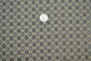 """Cotton quilting fabric 35"""" x 4 yards, vintage crest pattern in brown & tan"""