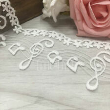 1Yd*110mm White Fabric Chiffon Lace Trimming Costume Dress Decor Sewing Applique