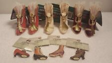 NEW Lot SIX (6) Fancy Victorian Style Shoe Boot Ornaments by Holiday Fine +BONUS