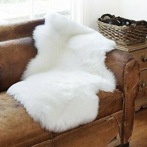 Sheepskin Rug White 2x3 ft Faux Sheep Fur Soft Hairs Genuine Look a like Shaggy