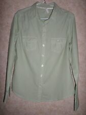 MARKS & SPENCER SEMI FITTED GREEN STRIPED SHIRT WITH TURN UP SLEEVES SIZE 12