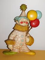 """VINTAGE 1967 20"""" SEXTON METAL CLOWN WITH BALLOONS WALL HANGING DECORATION"""