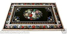 4'x2.5' Black Marble Dining Table Top Inlay Gems Marquetry Furniture Decorative
