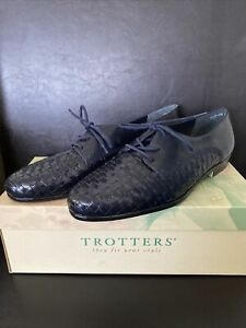 Trotters Womens Navy Woven Leather Lace Up Lila Oxfords Flats Shoe Sz 8.5