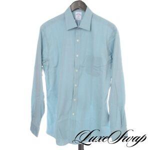 NWT Brooks Brothers Regent Fit Sea Green Allover Quatrefoil Diamond Shirt 16 4/5