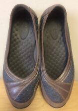 CLARKS Privo Size 6.5 Gray Bronze Leather Low-Heel Slip-Ons Ballet Flats