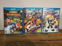 Sonic Boom: Rise of Lyric, Splatoon, and Mighty 9 Nintendo Wii U Game Lot