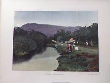 Tahiti/Moréa:Gravure 19°in folio couleur/ Rivière de Vaitepino