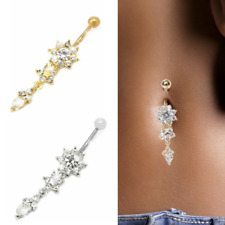 Navel Belly Rhinestone Crystals Flower Dangle Bar Barbell Body Piercing Jewelry