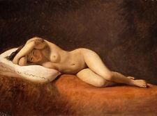 Resting Model Constantin Hansen Frauen Nackt Kissen Aktmalerei Brust B A3 01311