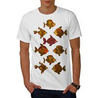 Wellcoda Art Fish Nature Animal Mens T-shirt, Gold Graphic Design Printed Tee