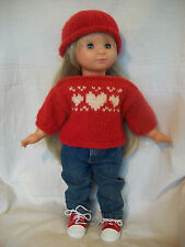 "18"" Doll Knitting Pattern will fit American Girl Heart Motif Sweater & Hat"