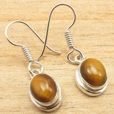 FACTORY DIRECT Handmade Silver Plated Earrings Pair ! Authentic TIGER EYE Gems