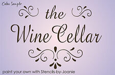 Joanie STENCIL French Wine Cellar Shabby Cottage Scroll Swirl Art Pantry Sign