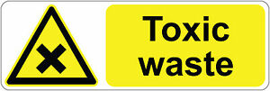 TOXIC WASTE health & safety signs/stickers 300 x 100 mm