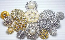 15 Mixed Clear Crystal/Rhinestone Silver/Gold Metal Buttons~Craft~Great Price!