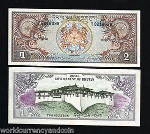 BHUTAN 2 NGULTRUM P-6 1981 X 10 Pcs Lot Bundle DRAGON UNC PALACE LARGE BANKNOTE
