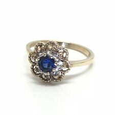 Vintage 9ct Gold Blue White Spinel Daisy Ring *1967 Hallmarked* Ring Size N