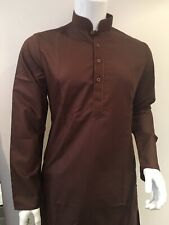 "Shalwar Kameez Mens Plain Band Collar Brawn 46"" Inch Other Sizes XL, L, M, S, XS"