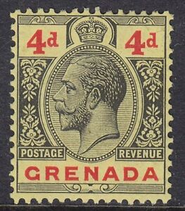 GRENADA 1921-31 SG123 4d BLACK & RED/YELLOW UNMOUNTED MINT