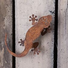 RUSTY METAL GECKO LIZARD WALL ART FOR GARDEN FENCE, SHED OR PERGOLA