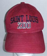Saint Louis Zoo Hat Cap Distressed Adjustable Red Canvas Strapback