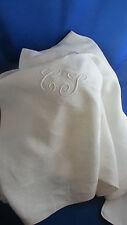ancienne nappe en coton damassé monogramme cl lc