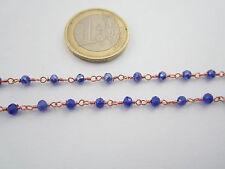 1 metro catenina rosario color rosè concatenata cristallo blu trasparent  3,5 mm