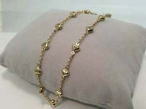 Puffed HEART CZ Rolo Chain charm Ankle Bracelet Real 10K Yellow Gold 4.2gr 10''