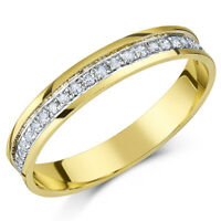 9ct Oro Amarillo Anillo Medio Sin Fin Diamante,cuarto Quilate 0.25ct CON